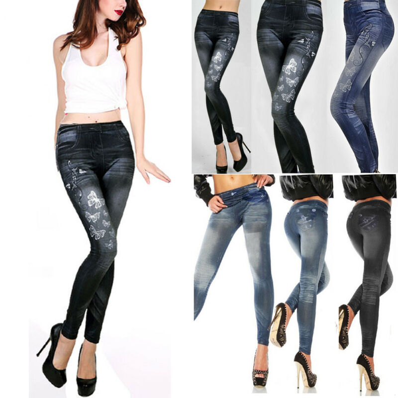 2020 Hirigin New Fashion Casual Women Ladies High Waist Skinny Fit Jeggings Stretchable Denim Pecil Print Pants Jeans