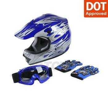 Motorcycle Youth Kids Helmet Blue Flame Dirt Bike ATV Motocross Off-Road Helmet+Goggles Cycling Helmet casque moto full face 2