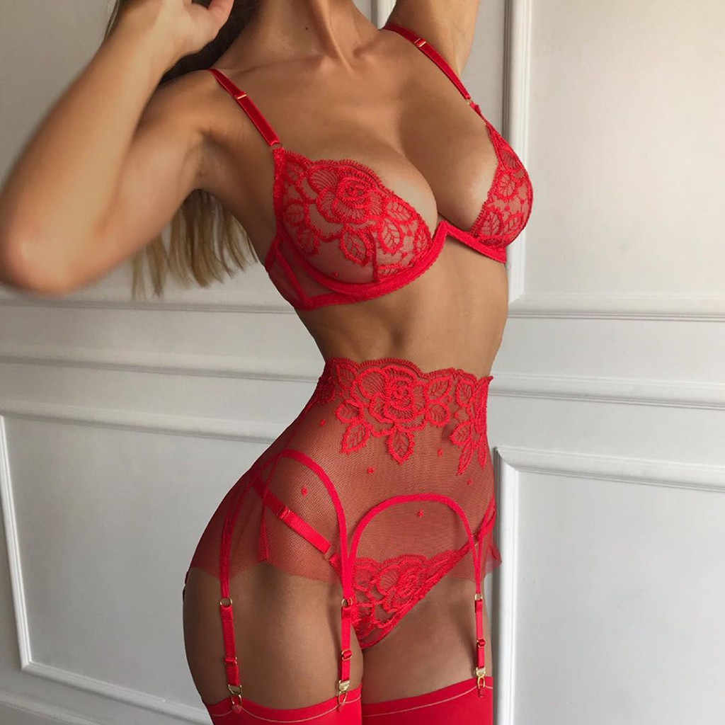 Naadloze thong slipje Sexy Exquisite Lace Lingerie Bh + Kousenband + Slips Set Babydoll Cut-Out Nachtkleding