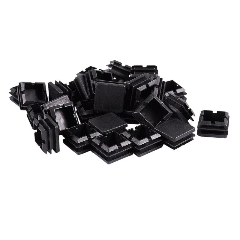 ABFU-Square Table Chair Leg Tube Pipe Feet Insert Cap 25mmx25mm 30pcs Black