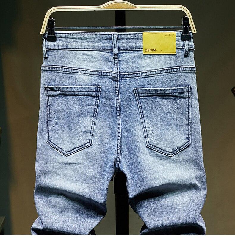 KSTUN Ripped Jeans for Men Slim Fit Light Blue Stretchy Fashion Mens Torn Jeans rip Moto Biker Jeans Pants Men Trousers Hip Hop Boys 14