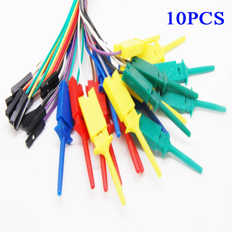 Logic Analyzer Dupont Female Cable Probe Test Hook Clip For Arduino Raspberry Pi 10pcs Connection Alligator Clips
