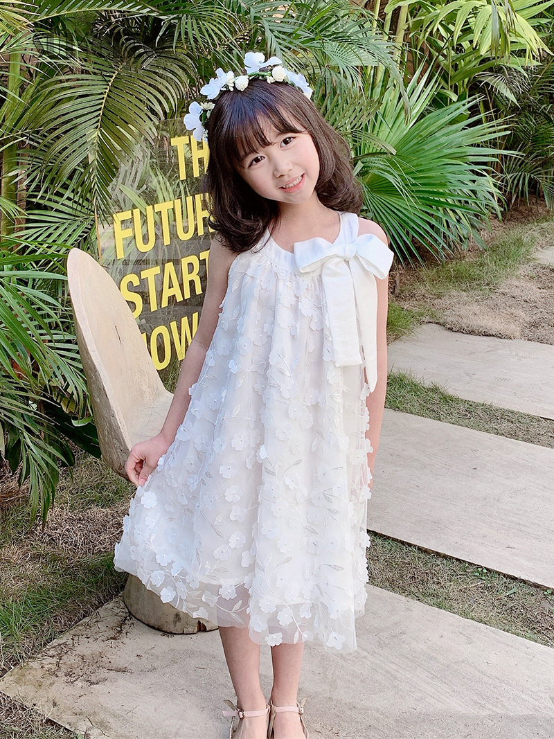 Sumcico 2020SS Latest Girl's White Lace Petal Tulle Dress Sleeveless Toddler's Dress with Bow Princess Dress Girl Age2-15Y