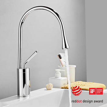 Modern Brushed Gold Basin Faucets Single Handle 360 Rotation Mixer Tap Washbasin Water Crane For Bathroom Vessel Sink Faucets 10
