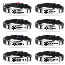 FIMAODZ Medical Alert ID Silicone Bracelet DIABETIC EPILEPSY ALLERGY COPD SOS Sign Stainless Bracelets Adjustable Wristband