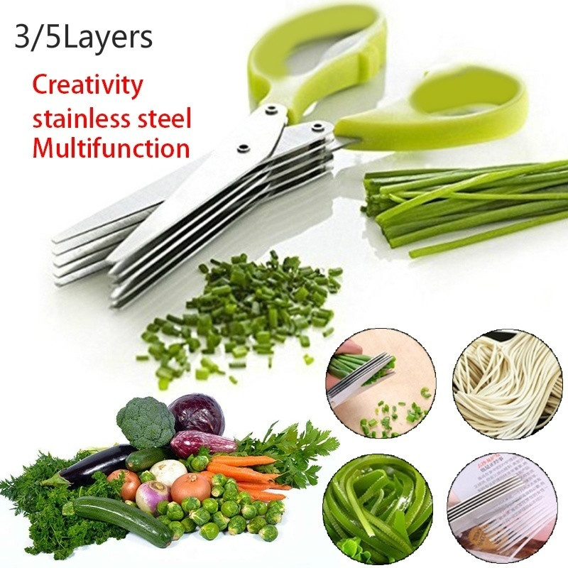 3 Layers/5Layers Stainless Steel Multilayer Chopped Green Onion Vegetable Kitchen Cut Baby Feeding Scissors Kitchen Scissors