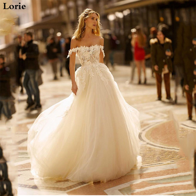 LORIE Lace Wedding Dresses 2020 Off The Shoulder Appliques A Line Bride Dress Princess Wedding Gown Puff Style Robe De Mariee