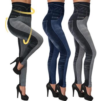 Wysokiej talii imitacja Jean legginsy szczupła elastyczna bezszwowa Plus rozmiar 3XL obcisła ołówkowa Pant damskie treningowe legginsy do biegania tanie i dobre opinie Uefezo Kostek CN (pochodzenie) Podnoszące tyłek SEAM Spandex(10 -20 ) STANDARD Sukno Women Jean Leggings W stylu indie folk