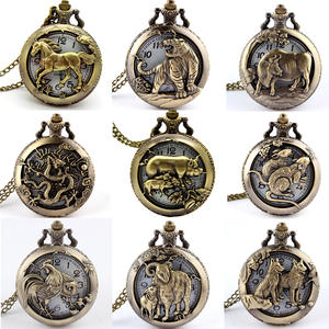 Necklace Pocket-Fob-Watch Pendant Bronze Chinese Zodiac Retro Antique Gifts USSR Round