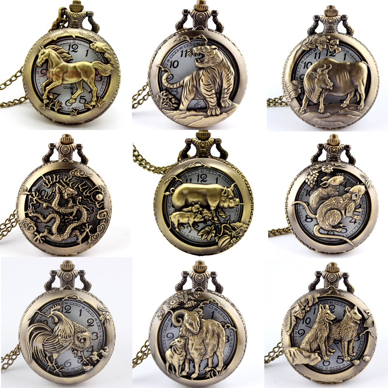 Retro Antique Chinese Zodiac Openwork Pendant Necklace Mens Round Bronze Pocket Fob Watch Boy USSR Relogio De Bolso Gifts Dog