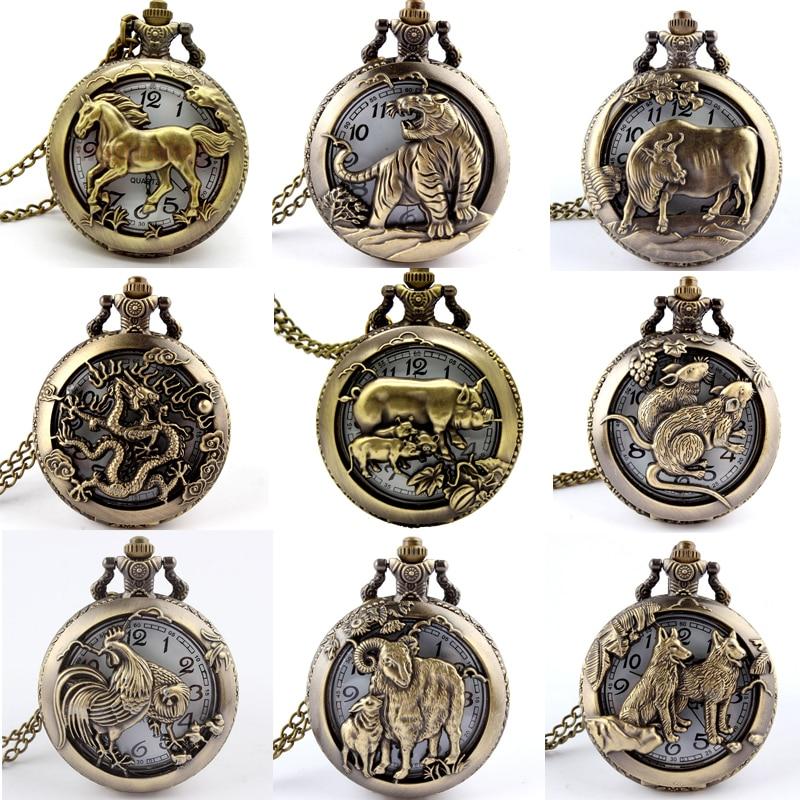 Retro Antique Chinese Zodiac Openwork Pendant Necklace Mens Round Bronze Pocket Fob Watch Boy USSR Relogio De Bolso Gifts Dog