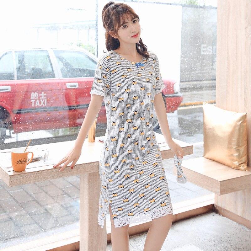 Women's Sleepwear Female Summer Short Sleeved Cotton Nightgown Korean-style Cute Princess Fresh-Style Lace Summer-Outerwear Midi