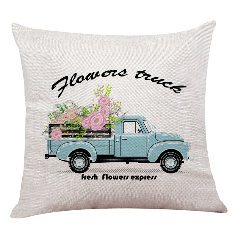 Flax 45x45Cm Pillow Cover Cushion Cover Home Textile Gift Flower Truck Pillow Set