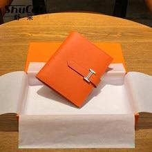 Carteira feminina de couro genuíno pequena marca moda bolsa senhoras saco de cartão para as mulheres 20120 embreagem bolsa feminina dinheiro clipe carteira