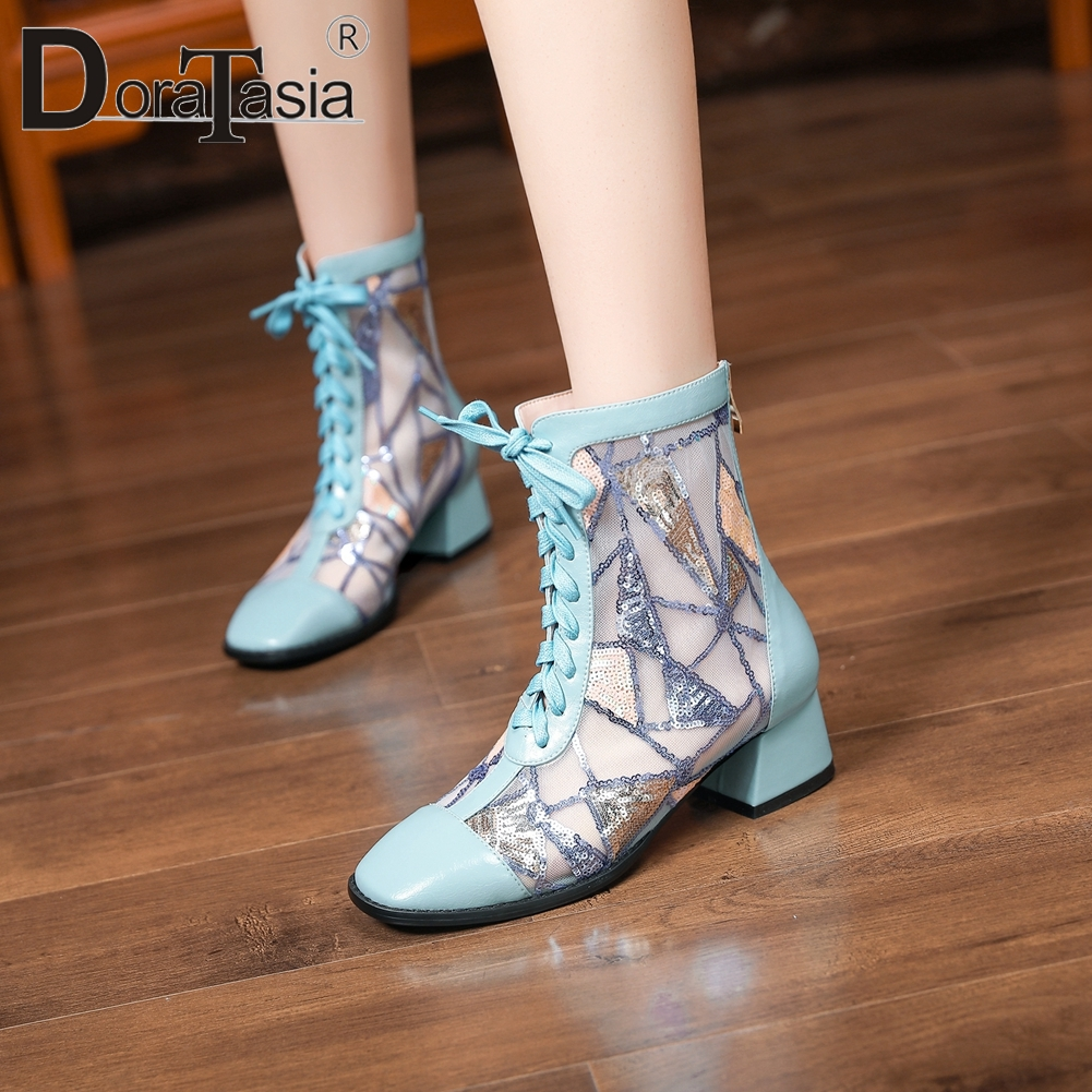 DORATASIA 2020 Trendy Spring Mesh Boots Unique Ol Med Heels Boots Women Breathable Genuine Leather Summer Shoes Woman