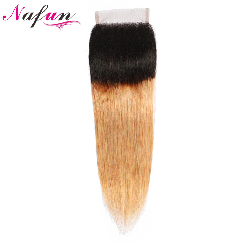 NAFUN Hair Peruvian Hair Straight 4x4 Lace Closure #T1B/30  27 99j Pre-colored Non-Remy Hair Ombre Color Human Hair Closure