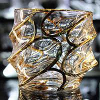 Copa de cristal de estilo europeo a gran escala, dibujo de vino dorado, whisky, vaso de cerveza, té, vidrio de vidrio, copa de brandy