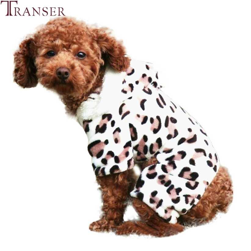 Transer леопардовой расцветки с принтом в виде собаки, бархатный комбинезон зимнего теплого сна питомца одежда для собак кошек Собака тренировочный костюм с капюшоном Щенок верхняя 9107