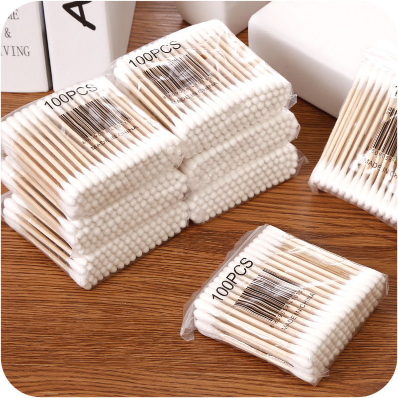 100 Pcs Double Head Cotton Swab Women Makeup Cotton Buds Tip For Medical Wood Sticks Nose Ears Cleaning Health Care Tools