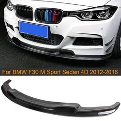 Przedni z włókna węglowego spojler zderzaka spojler do BMW serii 3 F30 M Sport Sedan 4D 320i 325i 328i 330i 335i 2012-2016 dokładka przedniego zderzaka