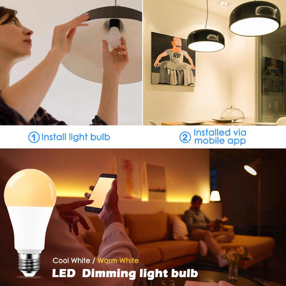 ذكي واي فاي مصباح إضاءة ليد E27/E14/B22 عكس الضوء مصباح 15 واط App Vioce التحكم العمل مع اليكسا جوجل مساعد LED لمبات للمنزل