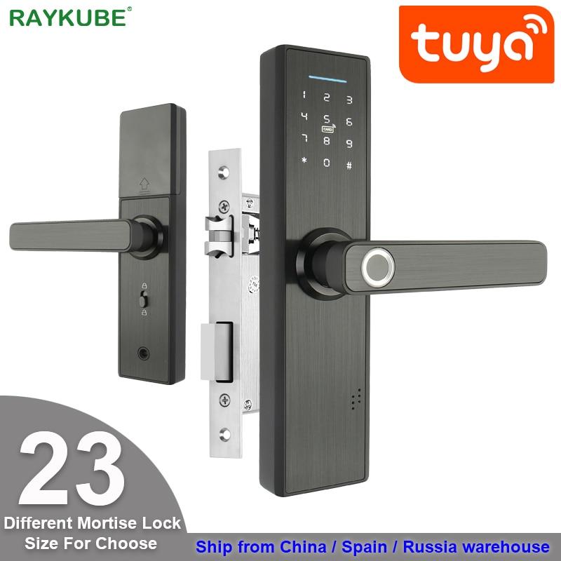 RAYKUBE Wifi электронный дверной замок с приложением Tuya удаленно/биометрический отпечаток пальца/смарт-карта/Пароль/разблокировка ключа FG5 Plus