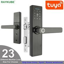 RAYKUBE واي فاي قفل الباب الالكتروني مع تويا التطبيق عن بعد/البيومترية بصمة/البطاقة الذكية/كلمة السر/مفتاح فتح FG5 زائد