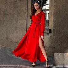 2019 New Yfashion Woman Bohemian Style Dress Deep V-neck Long Sleeves Slit Wide Hemline Maxi Dress