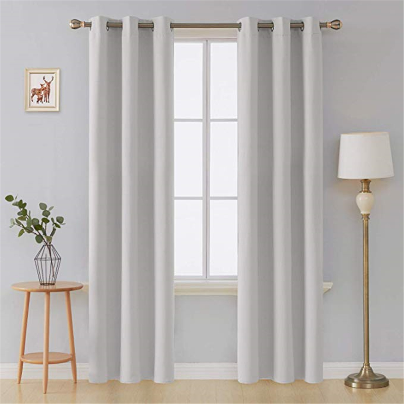 White Thermal Insulated Blackout Curtains For Living Room Bedroom Gray Thick Window Curtain Treatment