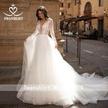빈티지 긴 소매 웨딩 드레스 2020 Appliques 레이스 a 라인 공주 신부 가운 Tulle Illusion Swanskirt I204 Vestido de Noiva
