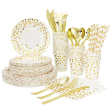 185PCS 20 People Using Rose Gold Paper Party Supplies, Birthday Party Wedding Decorations Children's Disposable Paper Tray Set