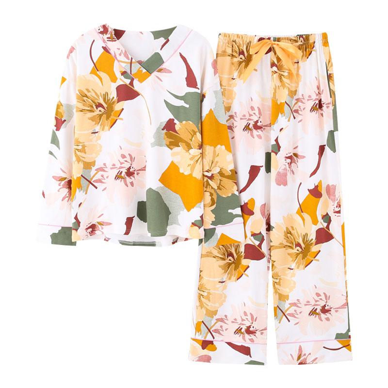 New Pyjamas Women Plus Size Pajamas White Floral Printing V-collar Trendy Lingerie Home Suits Wide Legs Female Cotton Sleepwear 2