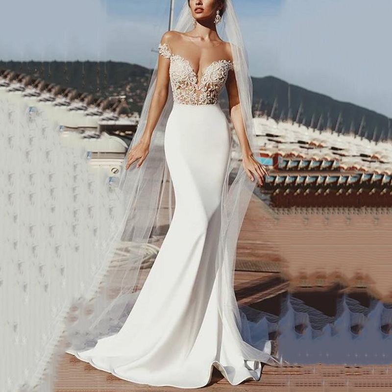 SoDgine Mermaid Wedding Dresses Modest Soft Satin Off The Shoulder Lace Appliques Sexy Deep V Neck Boho Bridal Gowns