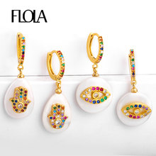 FLOLA-pendientes de mano de Fátima, arcoíris, Perla Barroca, ojo turco, 24K, arcoíris dorado, joyería, mano Fátima ersr52