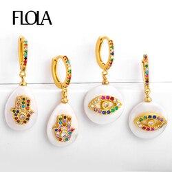 FLOLA Rainbow Fatima Hand Baroque Pearl Earrings Turkish Eye Earring Huggies 24K Gold Rainbow Jewelry aretes mano fatima ersr52