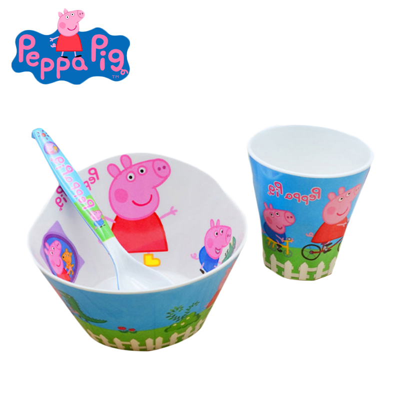 Peppa Pig Melamine Bowl Anti-fall Kid Cartoon Figures Creative Rice Cup Spoon Bowl Imitation Ceramic Modeling Birthday Toys Gift