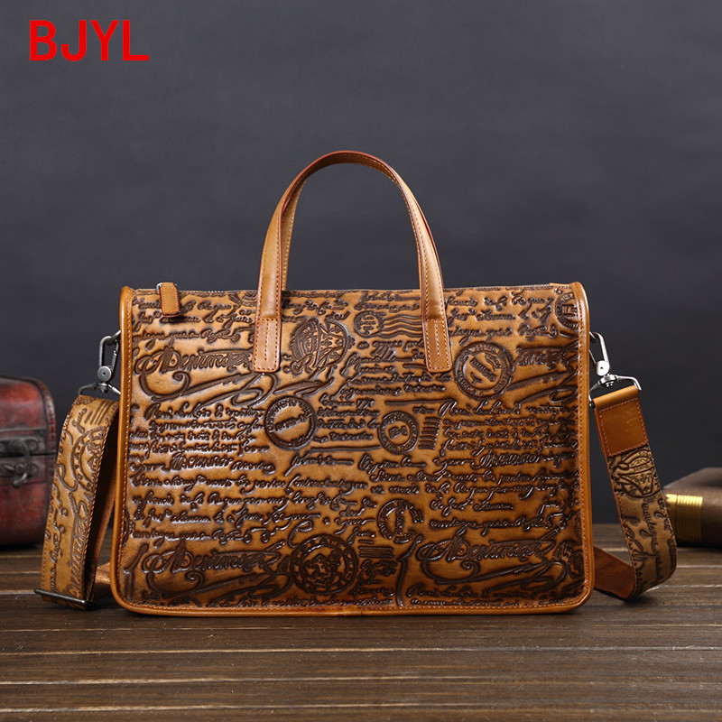 Leather Men's Bag Leather Handbag Business Briefcase Casual Shoulder Messenger Bag European And American Embossed Computer Bags