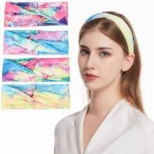Богемная повязка для волос с градиентным цветом эластичная спортивная