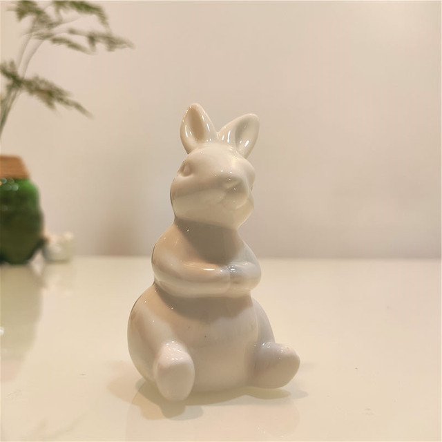 Ceramic Cute Pure White Rabbit Figurines Porcelain Table Home Decoration China Gift Modern Statue Handmade furnishings DHYY05 5