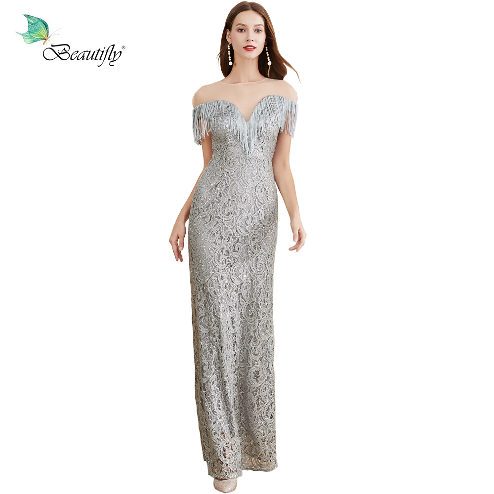 Maxi New Elegant Lace&Sequin Silver Gray Fashion Tassels Dress Prom Party Women's Long-Length Evening Dresses