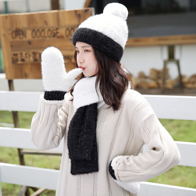 Knitted Winter Pompom Hat Scarf Gloves Set Women Thicken Warm Hat Glove Ball Beanies Hat High Quality Soft Scarf For Girls Gift