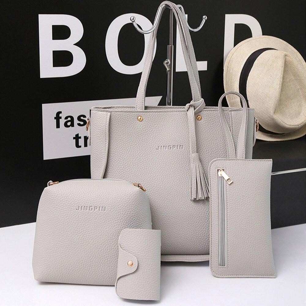 Women Four Set Handbag Shoulder Bags Four Pieces T