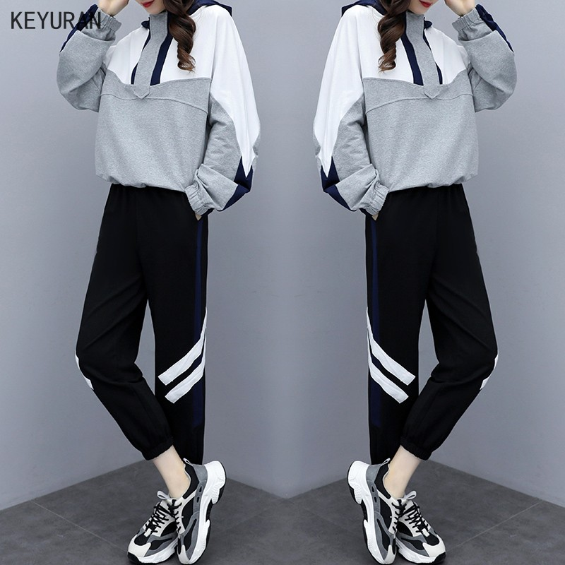 2020 Spring Autumn Women Tracksuits Outfits Loose Hooded Sweatshirts +Long Pants 2 Piece Set Clothes For Women Female Large Size image
