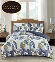 Yaxinlan conjunto de cama noctilucent duas cores puro algodão planta flores padrões flor folha colcha capa fronha 4 7 pçs|Conjuntos de cama|   -