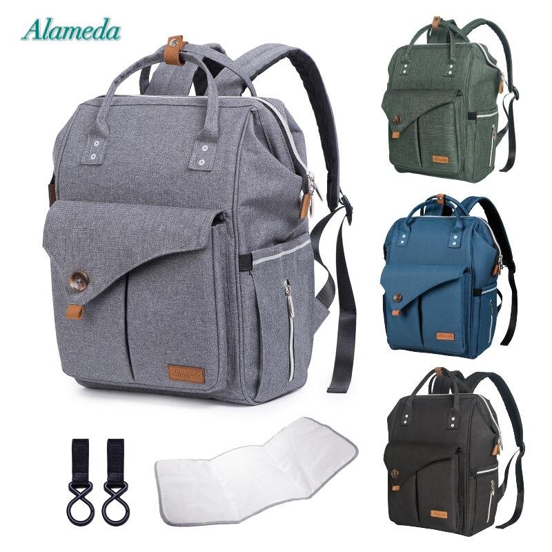 Alameda Mode Mumie Mutterschaft Tasche Multi-funktion Windel Tasche Rucksack Windel Baby Tasche mit Kinderwagen Riemen für Baby Pflege