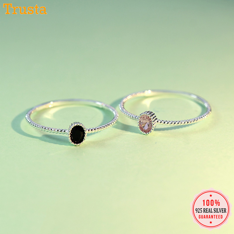 Trustdavis Genuine 925 Sterling Silver Dazzling Black Pink CZ Rings Size 5 6 7 8 Wonderful For Women Girls Teen Lady's Gift DT67(China)
