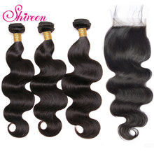 Body Wave Hair Weave Bundles With Closure Shireen Remy Peruvian Human Hair Bundles With Closure 4*4 Lace with Hair Extensions