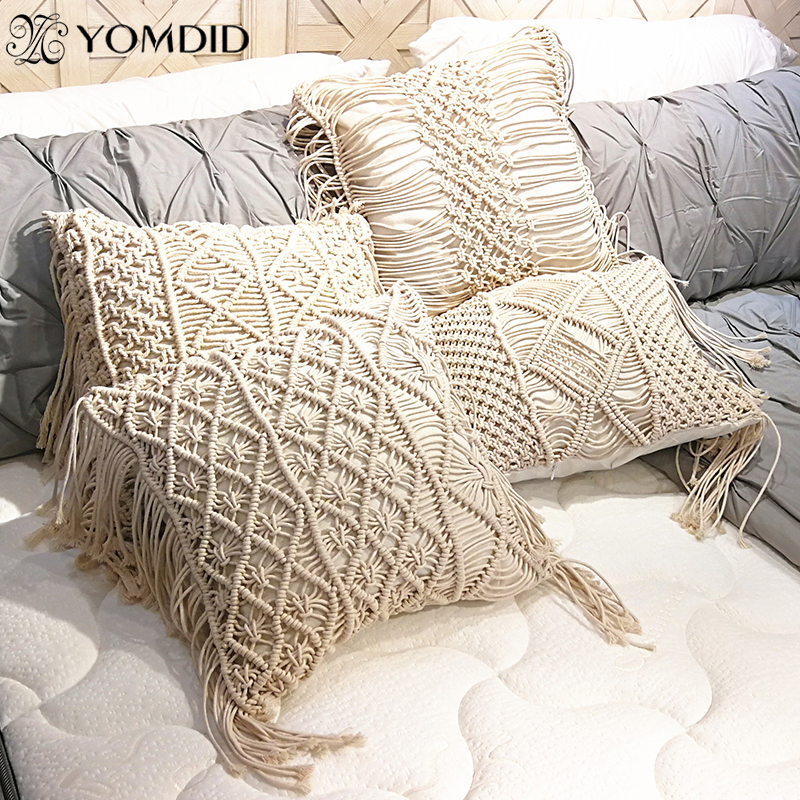 YOMDID Boho Cushion Cover Macrame Pillows Case Bohemia Geometric Pattern Cotton Thread Tassels Pillowcase Sofa Throw Home Decor