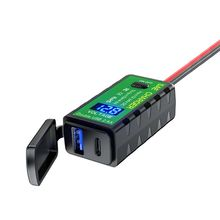 """עמיד למים 12V 24V אופנוע QC3.0 פ""""ד סוג C מטען SAE כדי USB מתאם עם מד מתח & על/כיבוי עבור טלפון חכם לוח G"""