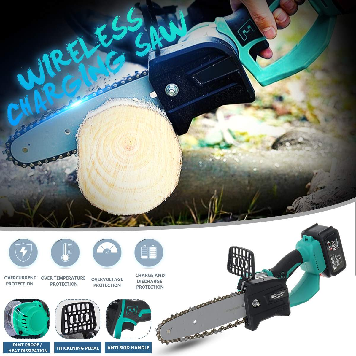 1280W 88V/198V Mini Cordless Portable One-Hand Saw Woodworking Electric Chain Saw Wood Cutter High Hardness Wear-Resistant Chain